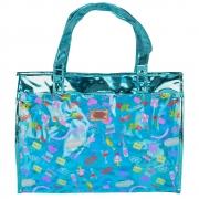 Bolsa Feminina Sacola Praia Transparente Candy Azul CBRN17164