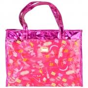 Bolsa Feminina Sacola Praia Transparente Candy Pink CBRN17195