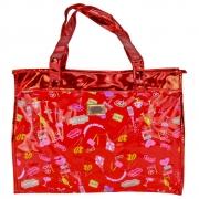 Bolsa Feminina Sacola Praia Transparente Candy Vermelho CBRN17225