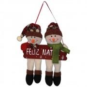 Bonecos de Neve Pelúcia de Luxo com Placa Feliz Natal 25cm de Altura CBRN0456 CD 0084