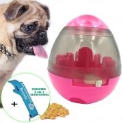 Brinquedo Interativo Para Cães com Dispenser para Petisco e Ração Pink + Chaveiro CBRN18185