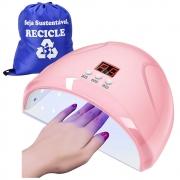 Cabine de Unha Secagem de Esmalte Acrigel LED UV USB Rosa + Mochila CBRN18475