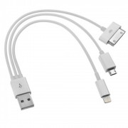 Cabo iPad iPhone 4,5,6 e Micro USB 3 Pontas Carregador CBRN0135