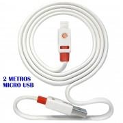 Cabo micro USB V8 flat 2 metros premium p/ carga e dados CBRN05192