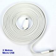 Cabo micro USB V8 flat 3 metros premium p/ carga e dados CBRN05185