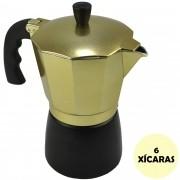 Cafeteira Italiana de Alumínio 6 Xícaras Dourado CBRN08940