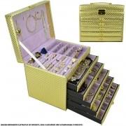 Caixa Para Joias Bijuteria 5 Gavetas Luxo Dourado CBRN10721