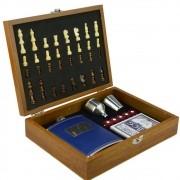 Cantil De Bolso Porta Bebida Whisky Baralho Xadrez Luxo CBRN09053