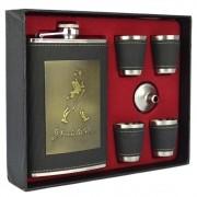 Cantil De Bolso Porta Bebida Whisky Copos Preto CBRN113715