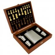 Cantil De Bolso Porta Bebida Whisky Xadrez Prata CBRN14194
