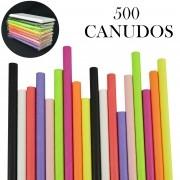 Canudos de Papel Biodegradável Coloridos 500 Unidades CBRN10844
