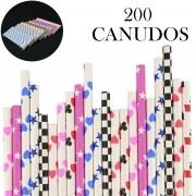 Canudos de Papel Biodegradável Festa 200 Unidades CBRN10912