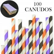 Canudos de Papel Biodegradável Listrados 100 Unidades CBRN10868