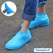 Capa de Chuva Tenis Calçado de Silicone Azul P CBRN11520