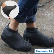 Capa de Chuva Tenis Calçado de Silicone Preto G CBRN11575