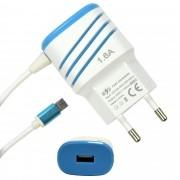 Carregador De Celular Universal Parede 1 USB bivolt 1.6A Azul CBRN05239