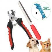 Cortador de Unha Para Gatos Cachorros com Lixa Vermelho + Chaveiro CBRN18505