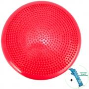 Disco de Equilíbrio Para Exercícios Inflável 33 cm Vermelho + Chaveiro CBRN16044