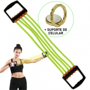 Elástico de Tensão Para Exercícios Verde + Suporte Celular CBRN16211