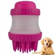 Escova de Silicone com Dispenser para Cachorro Gato Pink CBRN14446
