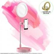 Espelho Iluminador Ring Light Retrátil com Suporte Rosa CBRN14330
