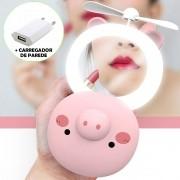 Espelho Ventilador Maquiagem Com Luz Led Porquinho 01 Cbrn12213