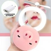 Espelho Ventilador Maquiagem Com Luz Led Porquinho 03 Cbrn12237