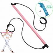 Extensor Elástico com Barra Para Exercício Rosa + Chaveiro CBRN17997