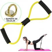 Extensor Elástico Para Exercícios Ginástica Amarelo + Suporte Celular CBRN15849