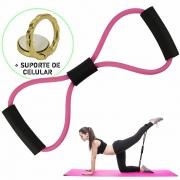 Extensor Elástico Para Exercícios Ginástica Rosa + Suporte Celular CBRN15856