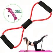 Extensor Elástico Para Exercícios Ginástica Vermelho + Chaveiro CBRN17966