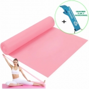 Faixa Elástica Para Exercício Resistência Yoga Rosa + Chaveiro CBRN15948