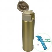 Garrafa Térmica Aço Inox com Vedação 400 ml Dourado + Chaveiro CBRN18598