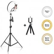 Iluminador Ring Light 26 cm USB com tripé 2,10 metros + Tripé Flexível CBRN14590
