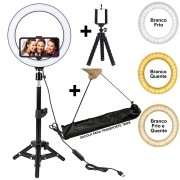 Iluminador Ring Light 26 cm USB com tripé 2,10 m + tripé flexivel + SACOLA CBRN10943