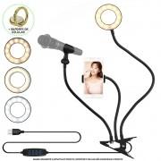 Iluminador Ring Light de Mesa Suporte Celular Microfone Presilha CBRN14323