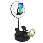 Iluminador Ring Light Dobrável 21cm 3 Suportes Preto CBRN14354