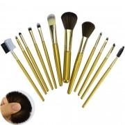 Kit 12 Pincéis Para Maquiagem Luxo Dourado CBRN10998