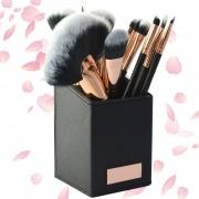 Kit 12 Pinceis para Maquiagem com Suporte Preto CBRN11407