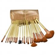 Kit de 24 Pincéis Para Maquiagem Profissional com Estojo Bronze CBRN15382