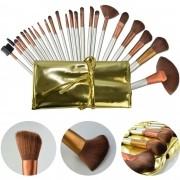 Kit de 24 Pincéis Para Maquiagem Profissional com Estojo Dourado CBRN10448