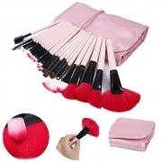 Kit de 24 Pincéis Para Maquiagem Profissional com Estojo Rosa CBRN10417