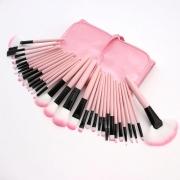 Kit de 32 Pincéis Para Maquiagem Profissional com Estojo Rosa CBRN15399