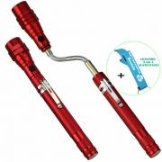 Lanterna de LED Telescópica Flexível 3 LEDS com Imã Vermelho + Chaveiro CBRN16280