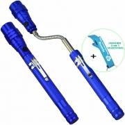Lanterna de LED Telescópica Flexível Laser Pointer com Imã Azul + Chaveiro CBRN16297
