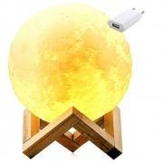 Luminária Abajur LED Lua Cheia 3D USB RGB Suporte de Madeira + Fonte CBRN14644