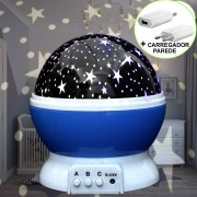 Luminária Infantil Projetor Abajur Criança Estrelas Azul CBRN10677
