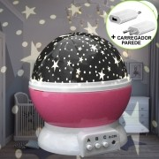 Luminária Infantil Projetor Abajur Criança Estrelas Rosa CBRN10684