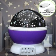 Luminária Infantil Projetor Abajur Criança Estrelas Roxo CBRN10691