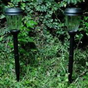 Lumin�ria Solar Jardim 2 pe�as Preto PVC 1664 em Led Branco - EC23231